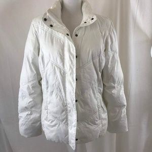 White Long Sleeve Puffy Jacket Zip And Button Up